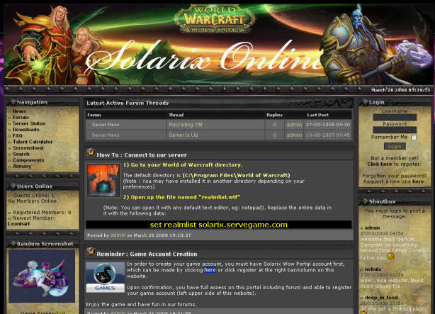 Solarix World of Warcraft Private Server