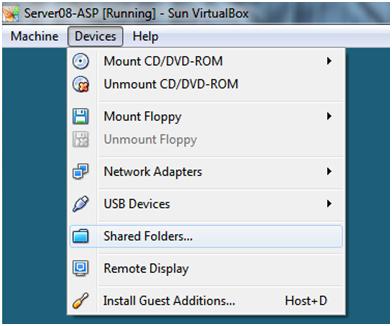 How to add VirtualBox shared folder in Windows Server 2008